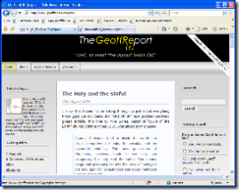 Screenshot of TheGeoffRe(y)port in new IE 7 RC1