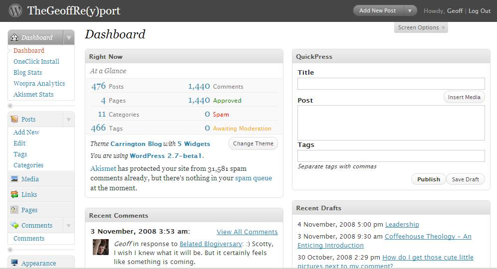 The New Wordpress 2.7 beta 1 dashboard
