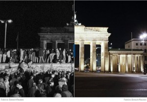 The Brandenburg gate in 1989, and today