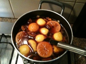 Mulled Wine in saucepan